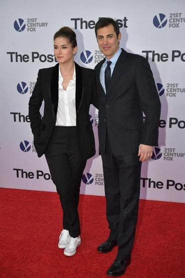 "Josh Singer with Liz Hannah at the premiere of ""The Post"" in Washington, D.C."